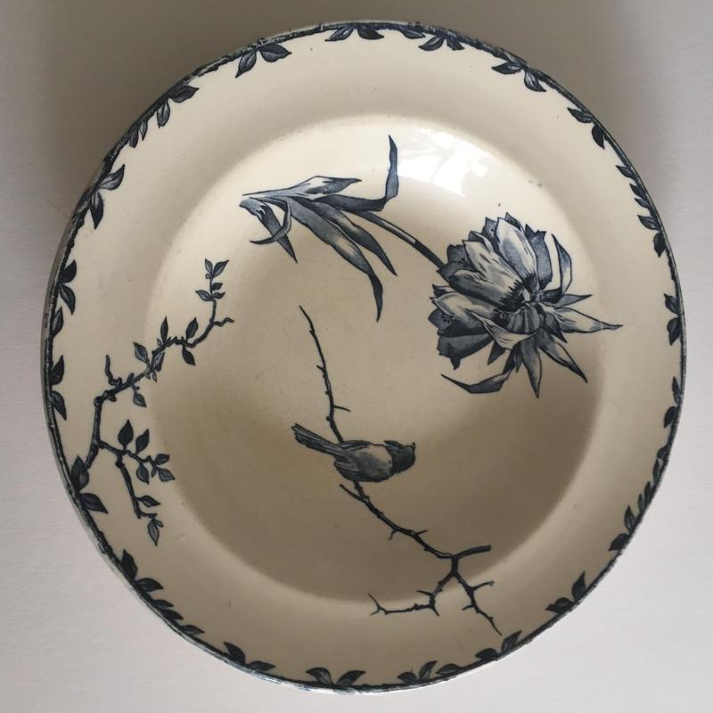 19世紀 グランデポ エミール・ブルジョワ スーププレート 深皿  小鳥柄 2