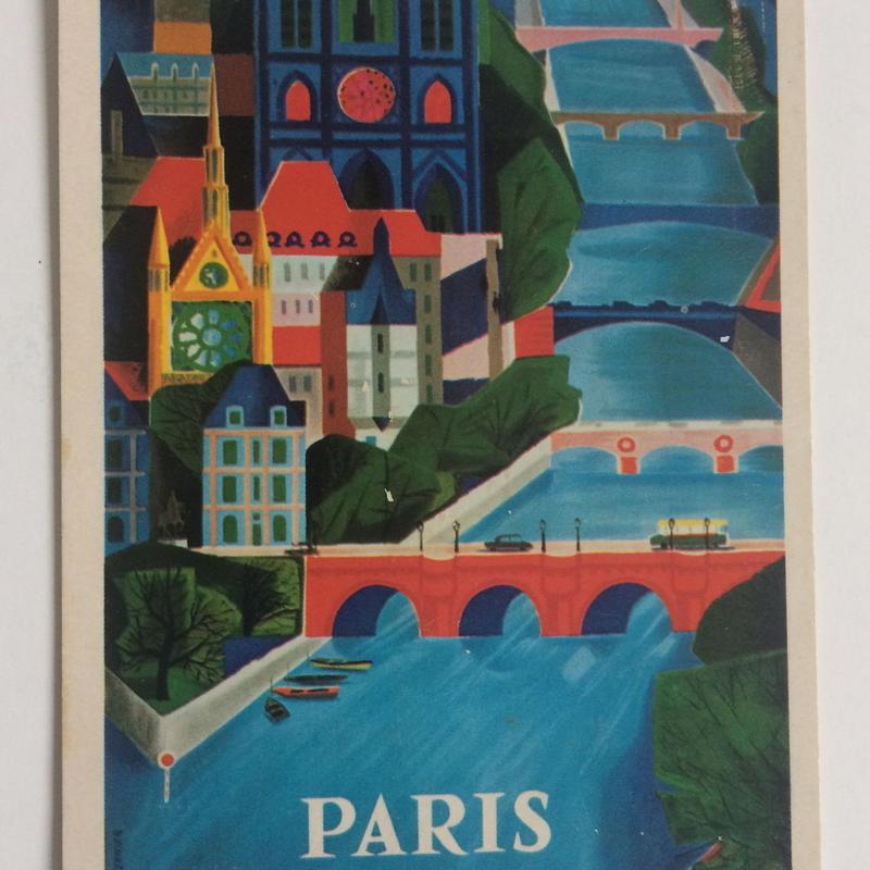 ビンテージ ポストカード エールフランス ポスター 1963年 パリ ヴェルニエー