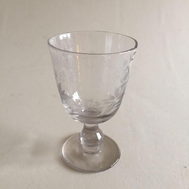 19世紀 ワイングラス スーヴニール 吹きガラス
