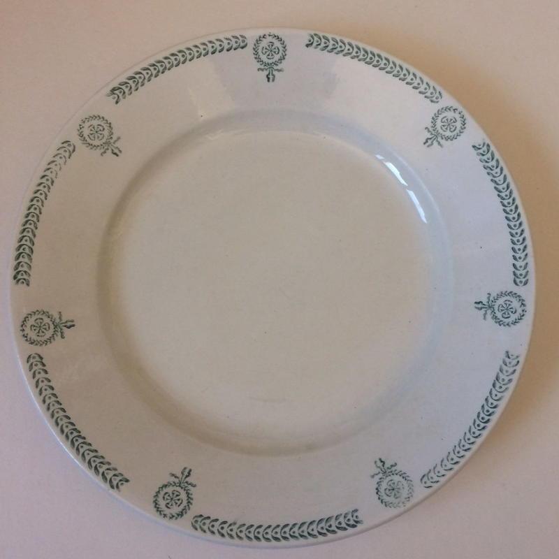 19世紀 カストル お皿 プレート ディッシュ メダル柄 グリーン 2
