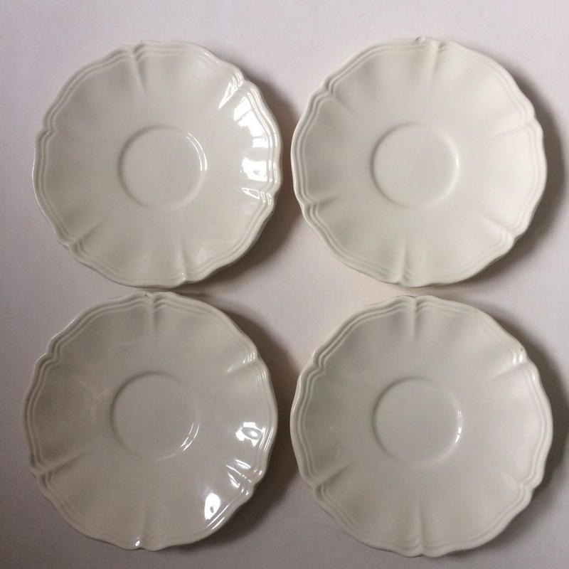 1920年代 サルグミンヌ ソーサー、小皿4枚セット 花リム クリーム色