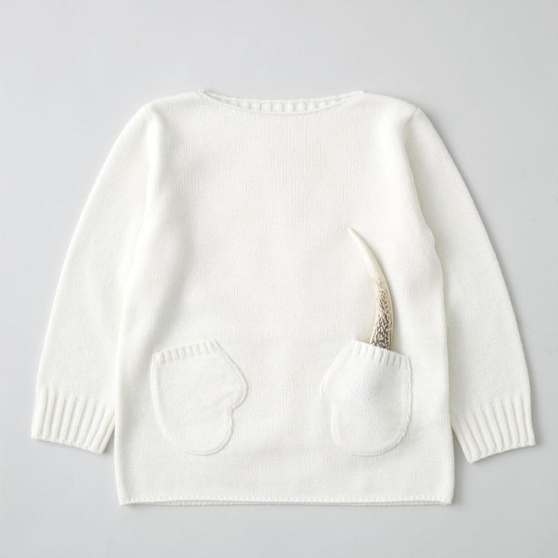 """friendly knit"" mitten sweater white"