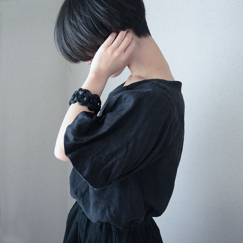 AWAJI Leather bracelet  black
