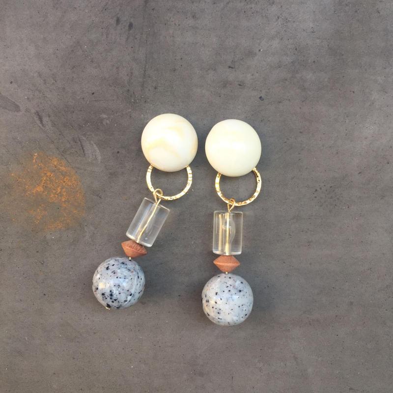 marble stone beads pierce