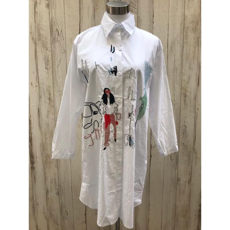 刺繍シャツワンピース.551