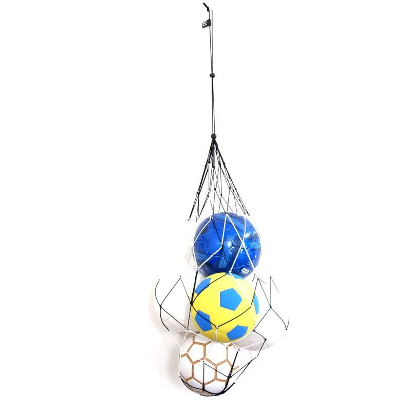 【サッカーボールをおしゃれに収納するボールネット 】カピタンオリジナル パラコード ボールネット  コンビ XLサイズ(ブラック×ホワイト)