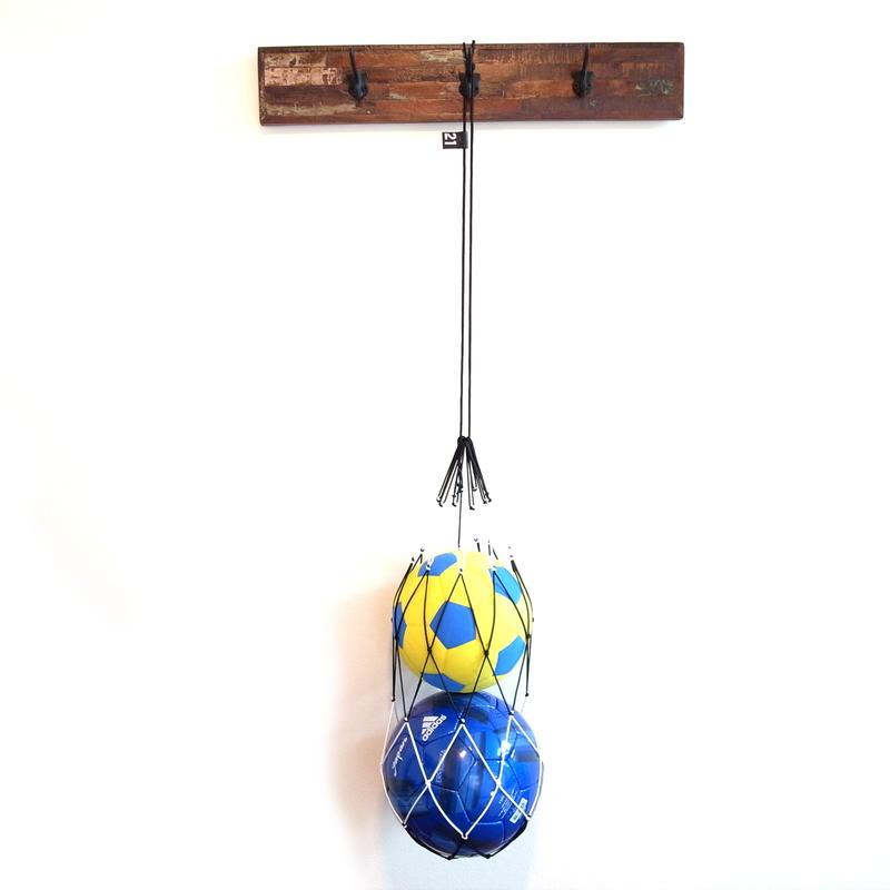 【サッカーボールをおしゃれに収納するボールネット】カピタンオリジナル パラコード ボールネット コンビ LLサイズ(ブラック×ホワイト)