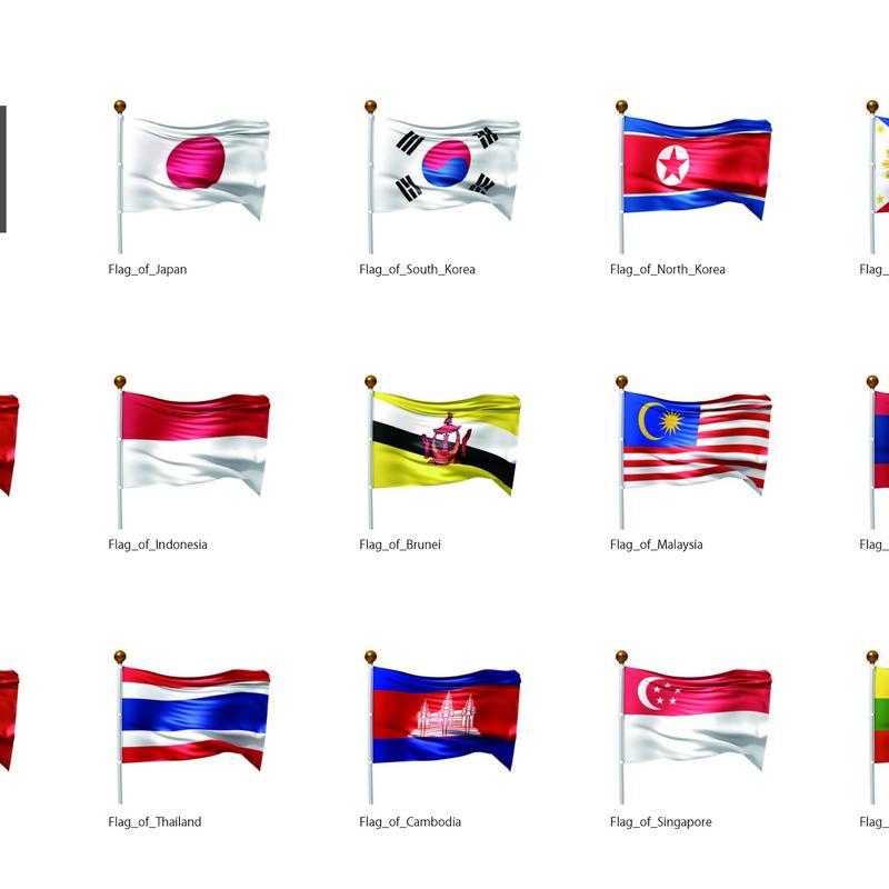 旗(アジア01)_イラスト