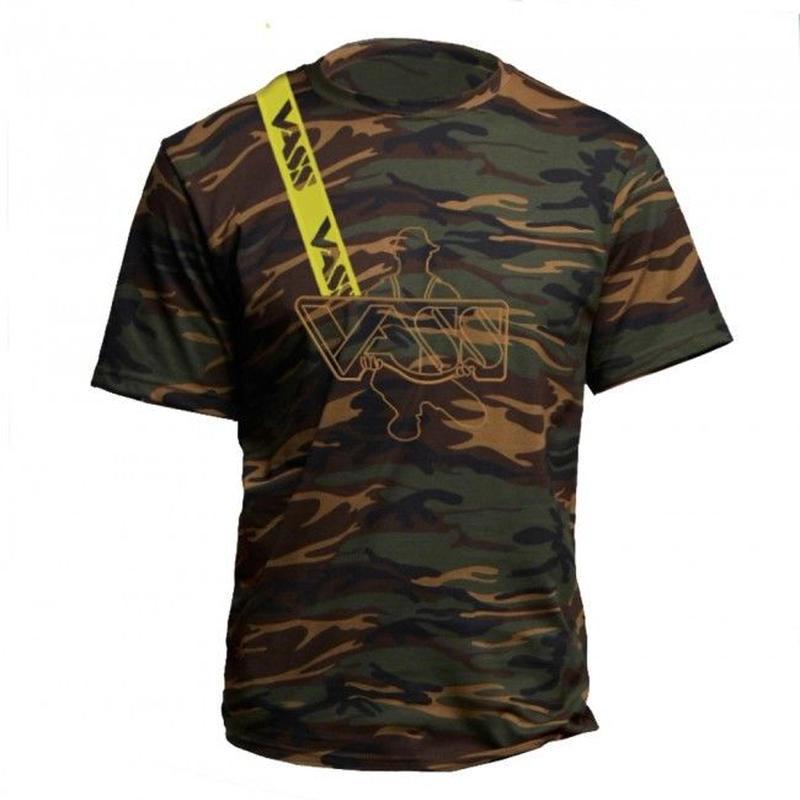 VASS  カモ 刺繍&プリントTシャツ
