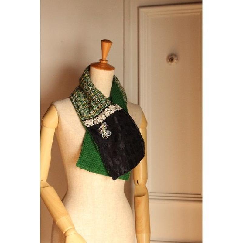 ミニショール⑤ グリーンツイードxインド刺繍