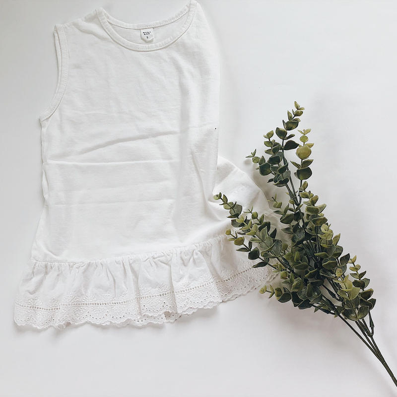 kids★cotton lace peprum tank top