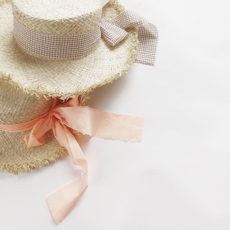 kids★ribbon fringe rafia hat