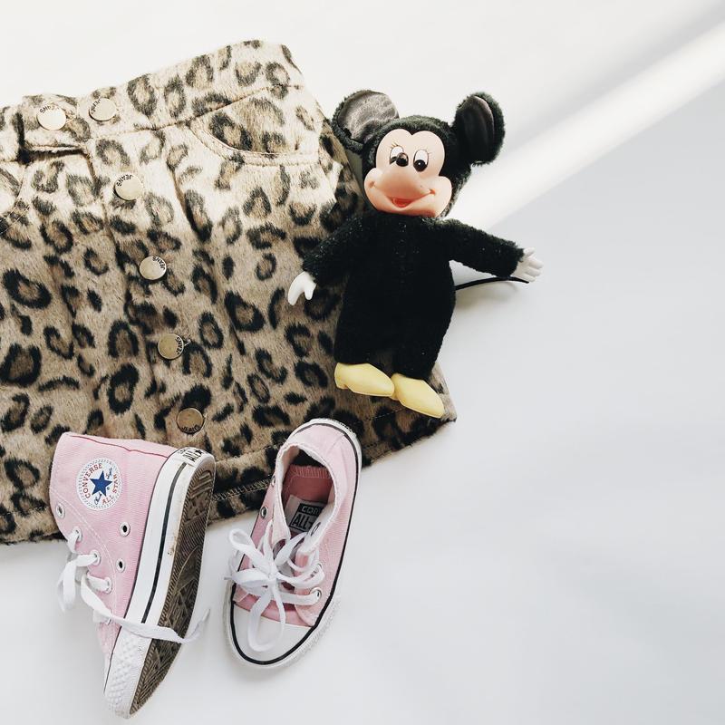 kids★leopard front button skirt