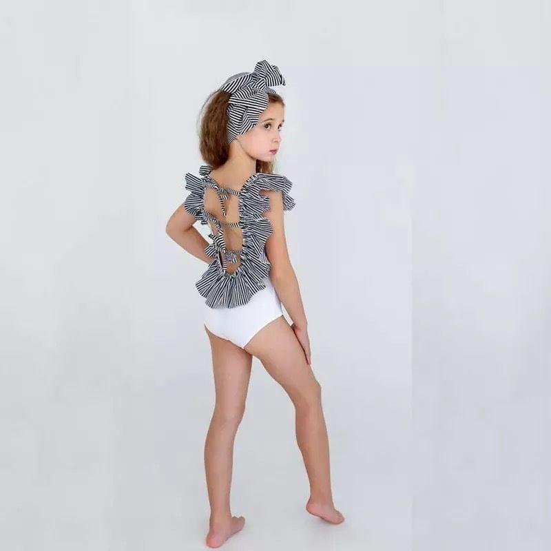 kids★back ribbon  frill swim  wear