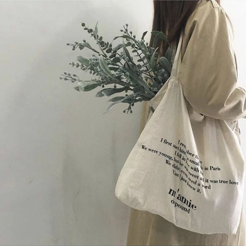 【ladies】English letters tote bag