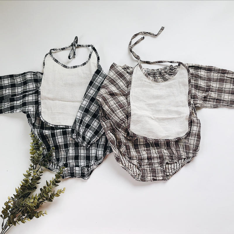 Baby★glen check 2set rompers
