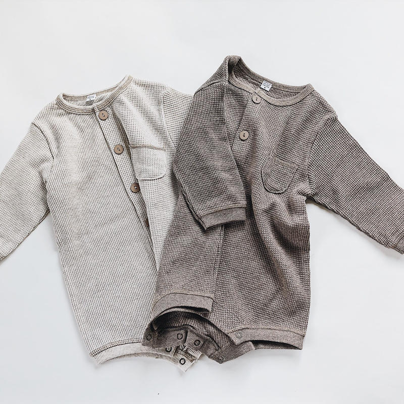 baby★thermal waffle short rompers