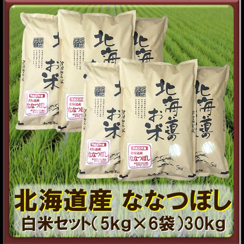 平成30年 北海道産 ななつぼし 白米セット(5kg×6袋)30kg