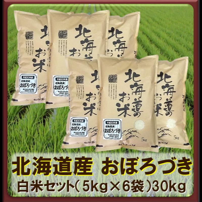 平成30年 北海道産 おぼろづき 白米セット(5kg×6袋)30kg