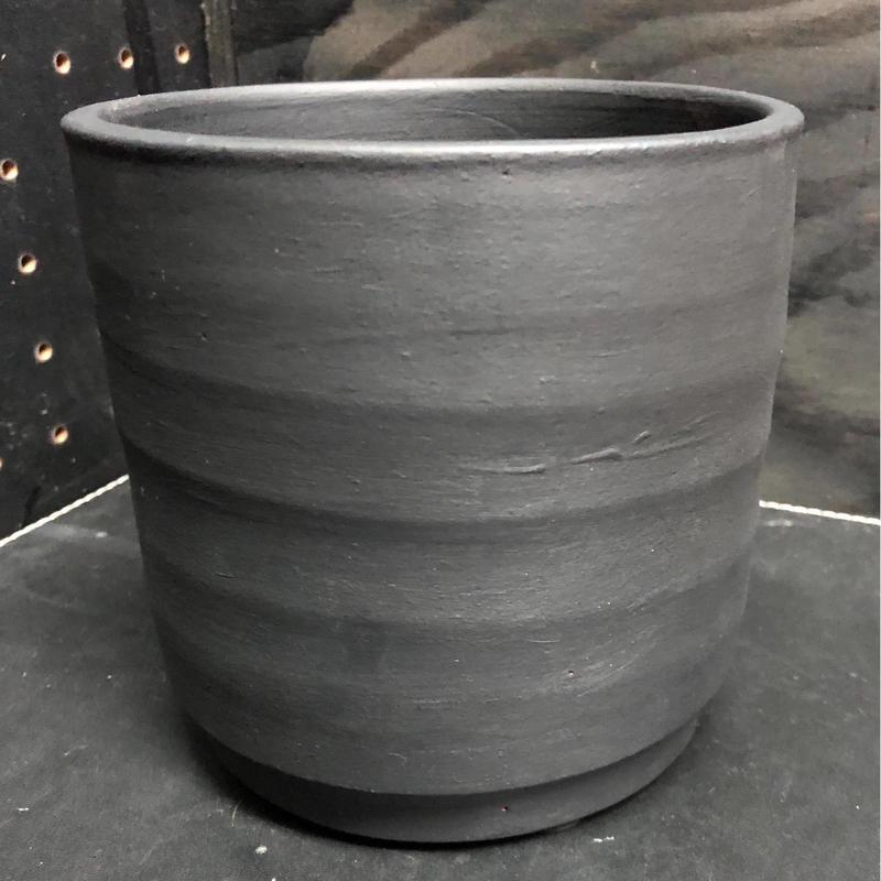 イタリアンテラコッタ  マットブラック シリンダーポット 穴なし 鉢カバーに