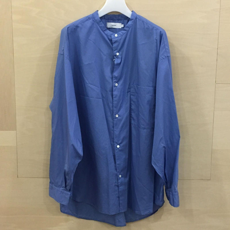 Graphpaper / GM191 50032 / Broad Oversized Band Collar Shirt (BLUE)
