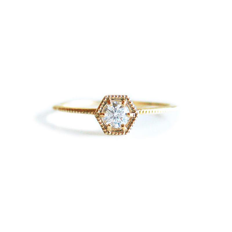 K10YG/【KIKKO DIAMOND / 亀甲ダイヤモンド】ダイヤリング(L)0.20ct (R10072Y-L)