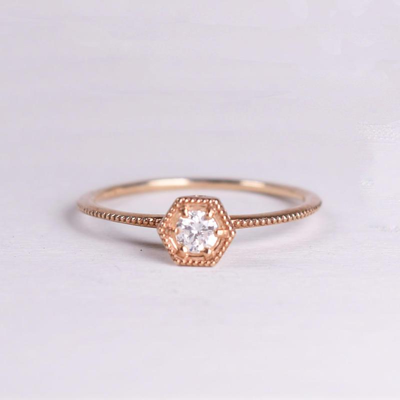 K10YG/【KIKKO DIAMOND / 亀甲ダイヤモンド】ダイヤリング(M)0.13ct (R10072Y-M)