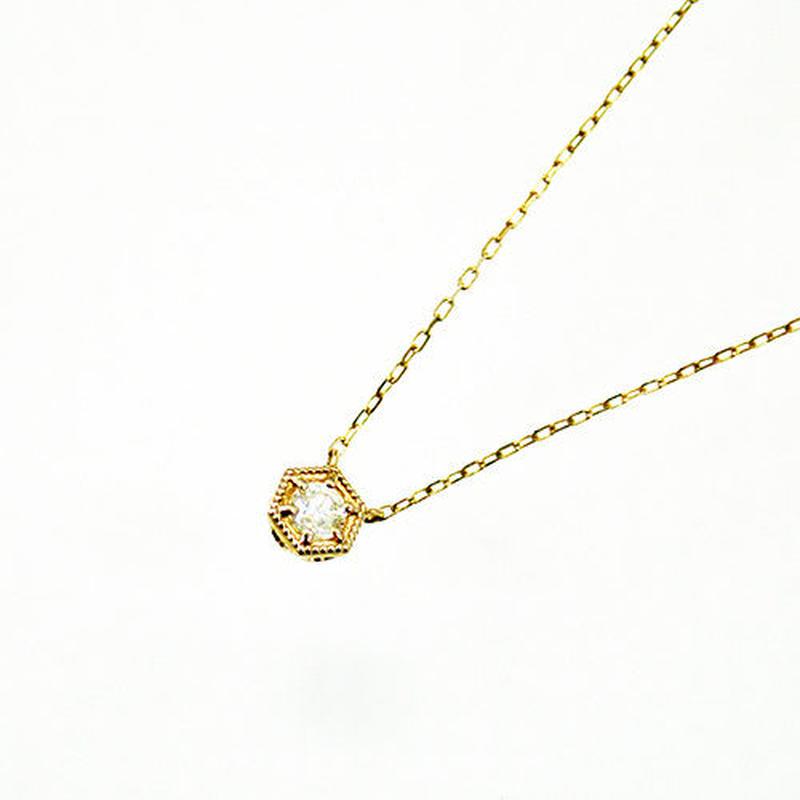 K10YG【KIKKO DIAMOND / 亀甲ダイヤモンド】ダイヤネックレス(M)0.13ct (N10072Y-M)