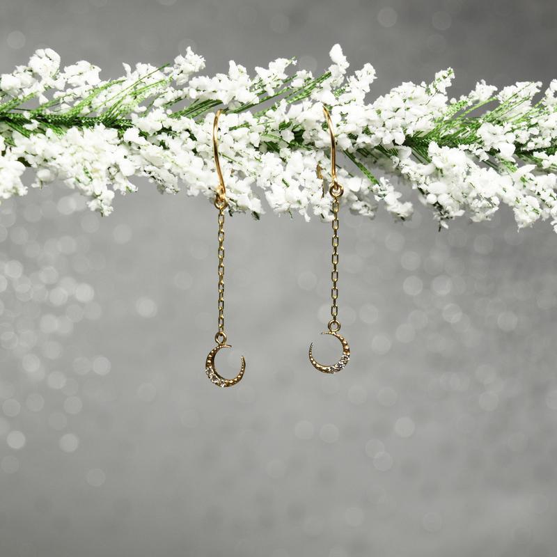 K10YG Diamond Piercing【TSUKI NI HOSHI / 月に星】N10087Y