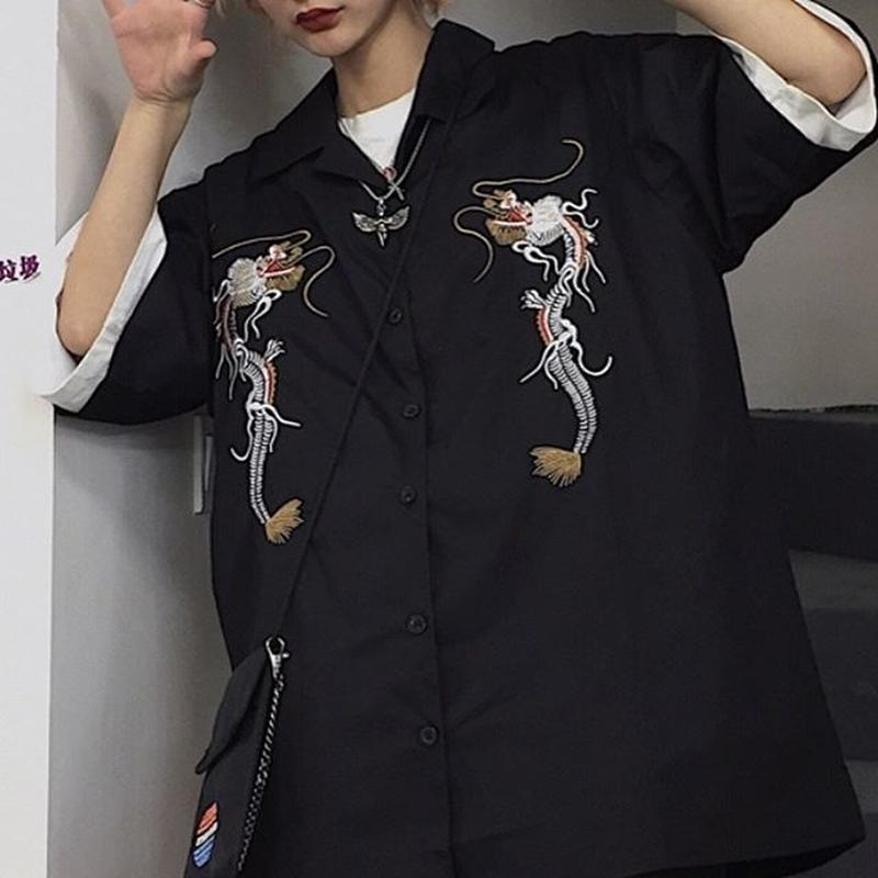 Embroidery dragons shirt