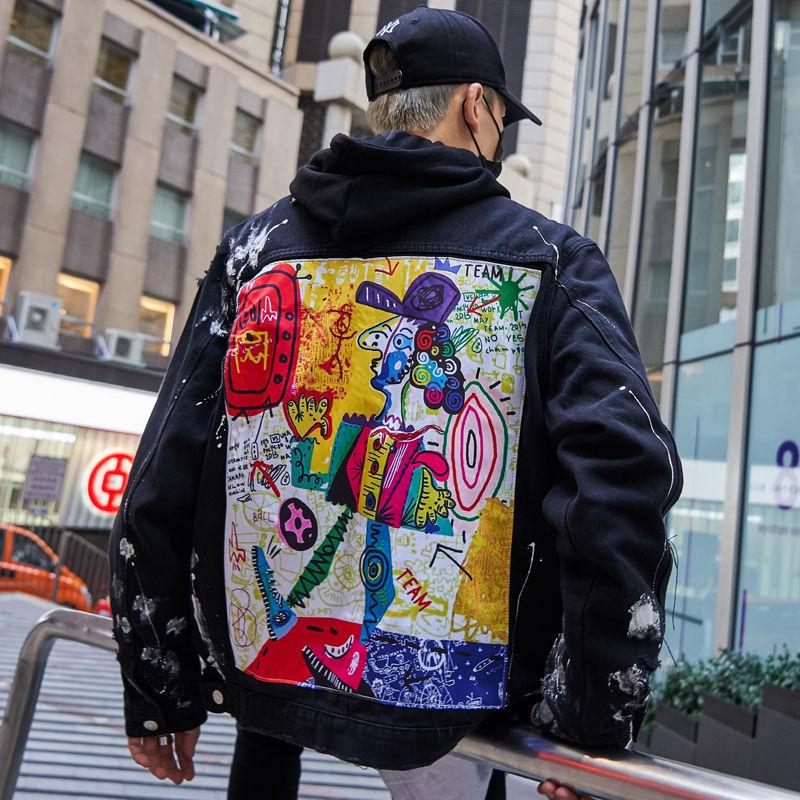 abstract print denim jacket