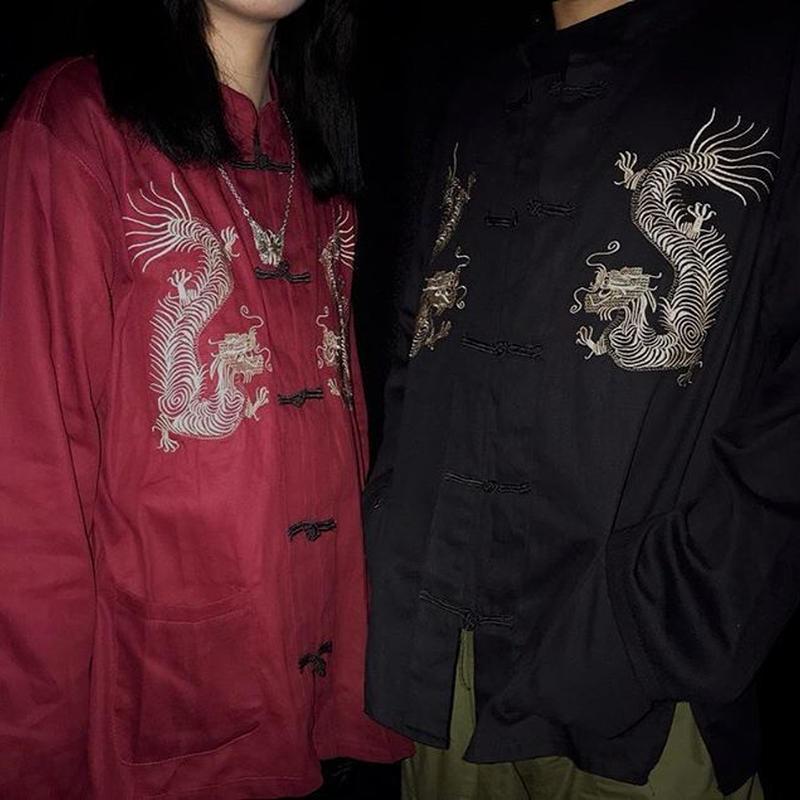 龍刺繍チャイナシャツ