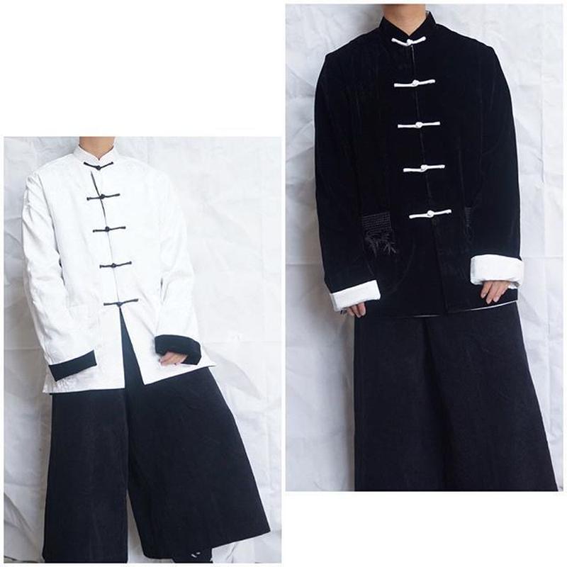 ベロア×サテン リバーシブルチャイナジャケット(black/WHITE)