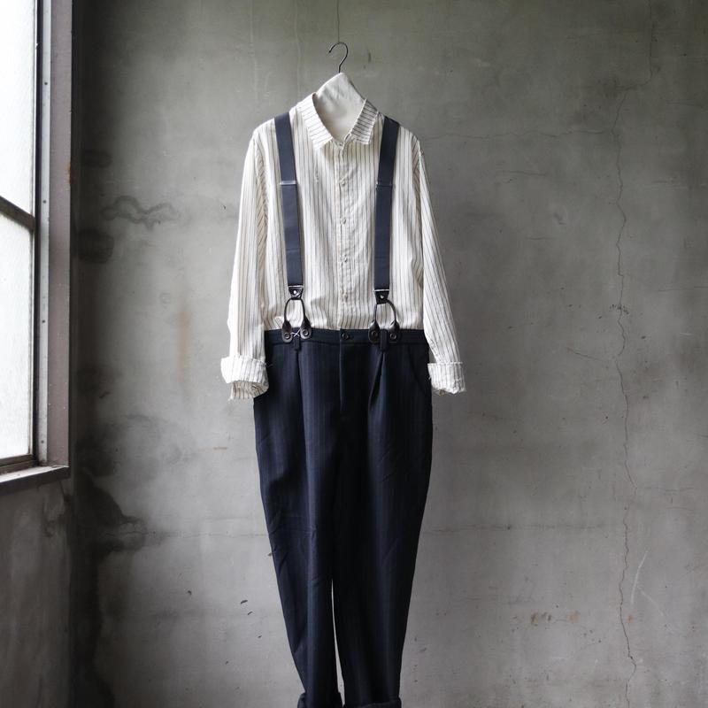 cavane キャヴァネ / Suspender pants +stripe shirt combi / ca-18074