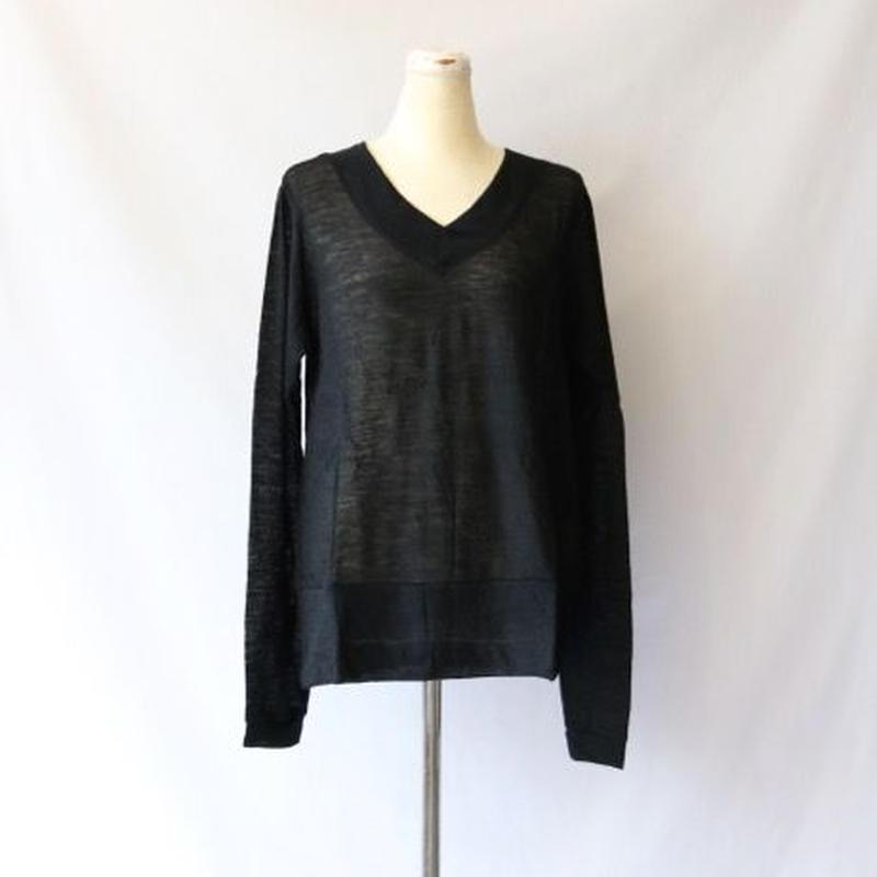 cavane キャヴァネ / ウール 梨地 VネックニットWool V-neck knit / ca-15026