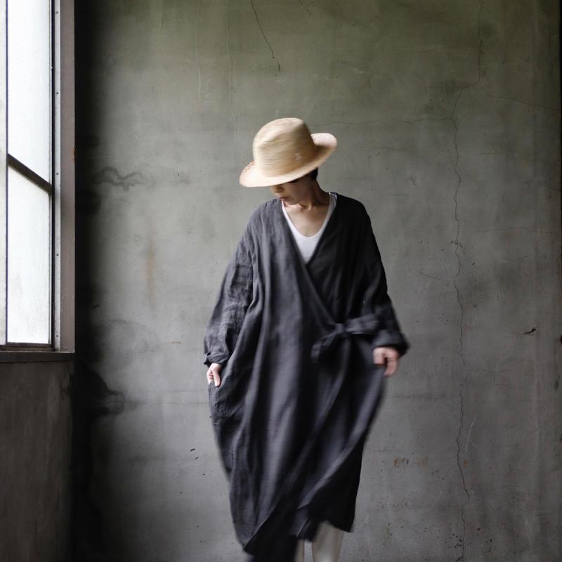 cavane キャヴァネ / cache-cœur robe-coatローブドレス / ca-19054