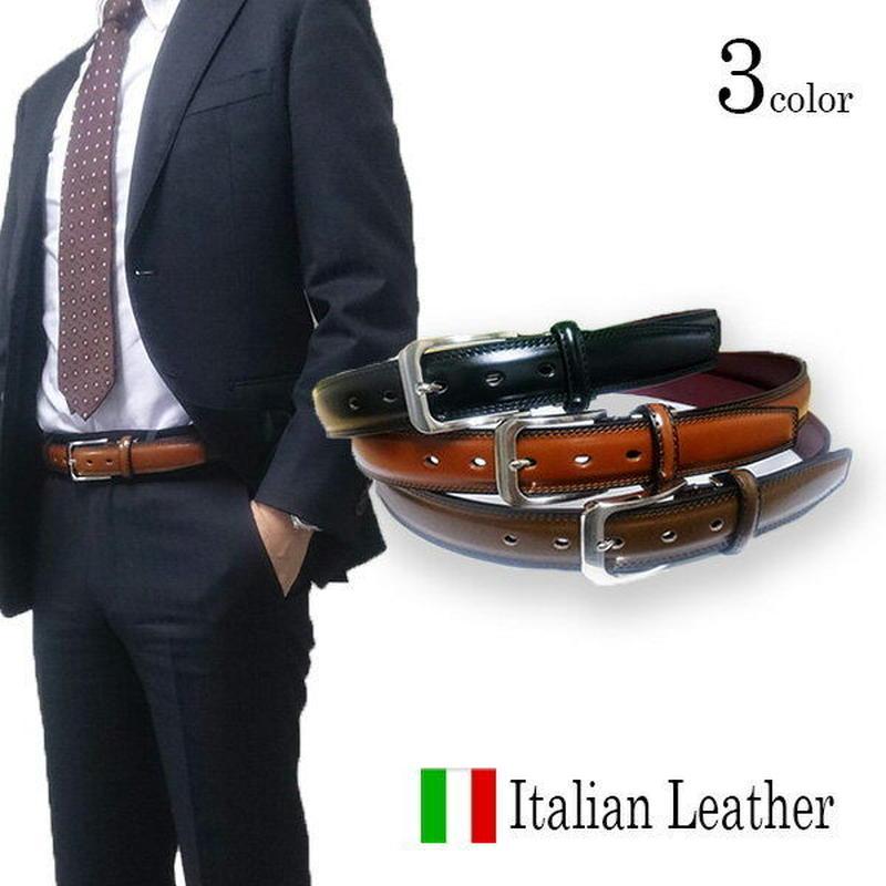 イタリアンレザーベルト 本革 ビジネスベルト シングルループ ピンバックルタイプ幅35mm ブラック ブラウン 牛革シボフィットベルト サイズ調整可能13b602pm