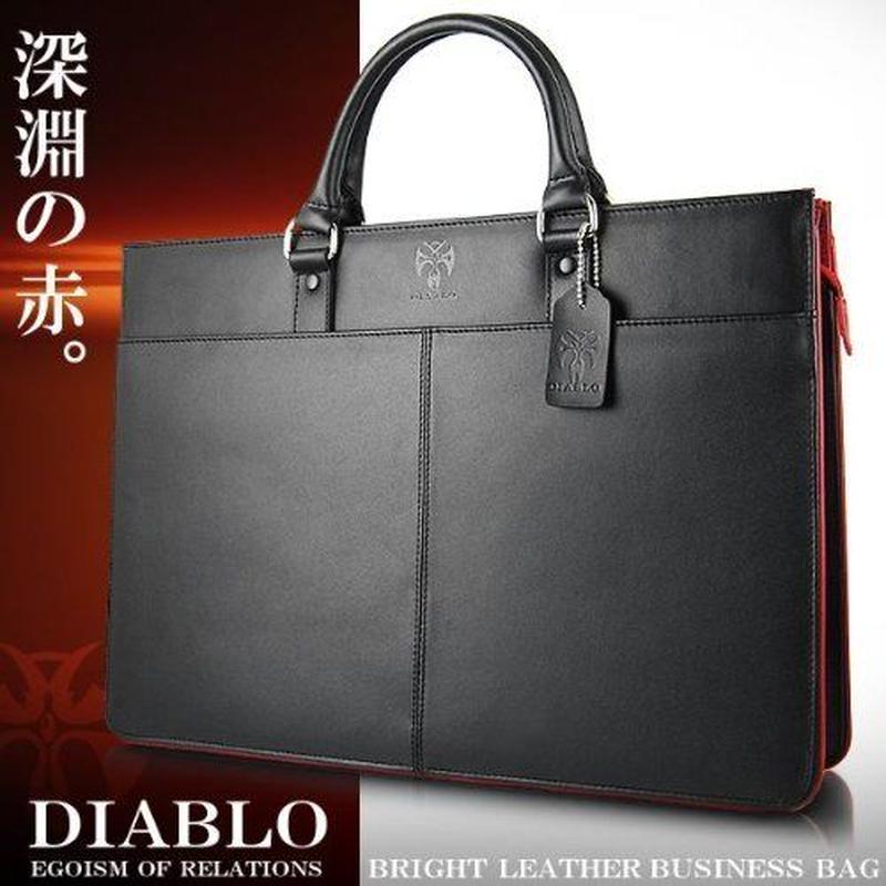 牛革高級ビジネスバッグ 黒ブラック/赤レッド メンズ ブリーフケース ka453