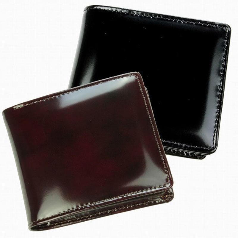 【LA PELLE】イタリアンレザー中ベラ付き二つ折り財布 メンズ牛革 本革短財布 LP3002