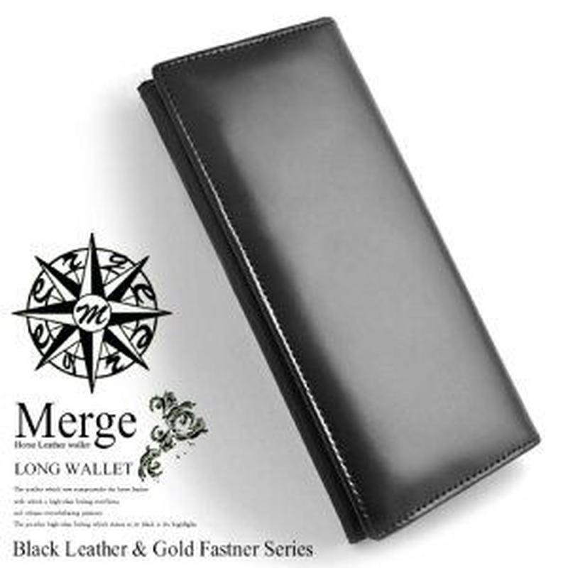 【 Merge(マージ)】馬革×牛革 長財布 メンズレザーロングウォレット 財布 MG-1715 ブラック 黒