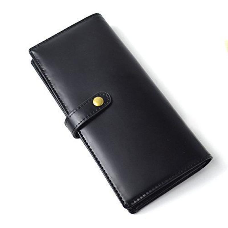 【 Merge(マージ)】馬革×牛革 一部クロコ型押し スナップボタン仕様 メンズ二つ折り長財布 レザー MG-1741 ブラック 黒