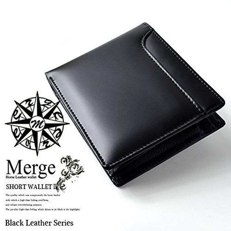【 Merge(マージ)】馬革×牛革 メンズ二つ折り短財布 便利なカードスライダー付 メンズ レザー MG-1739 ブラック 黒