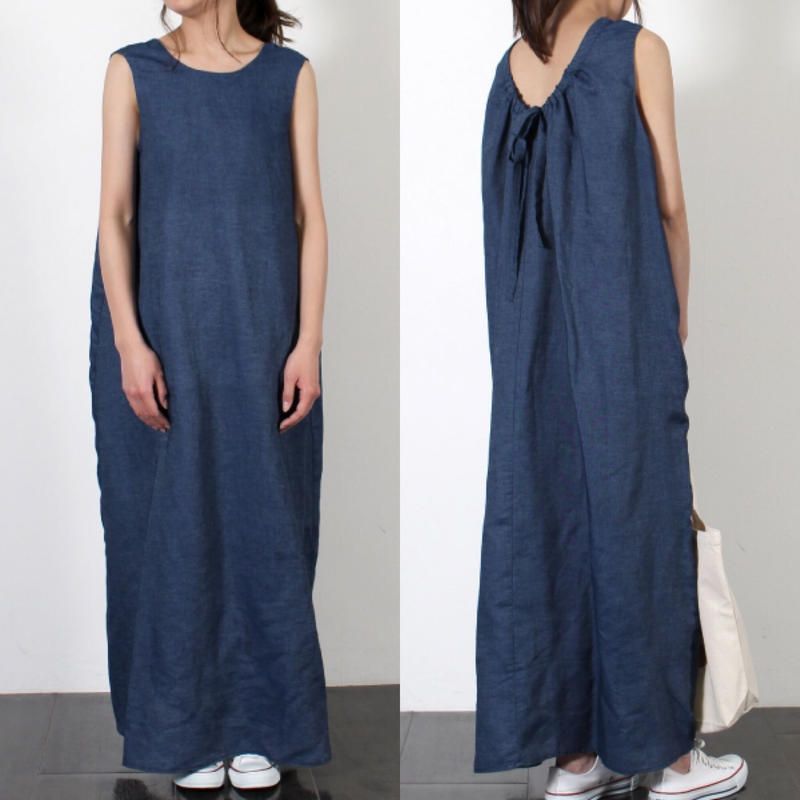 即納/back ribbon maxi one-piece