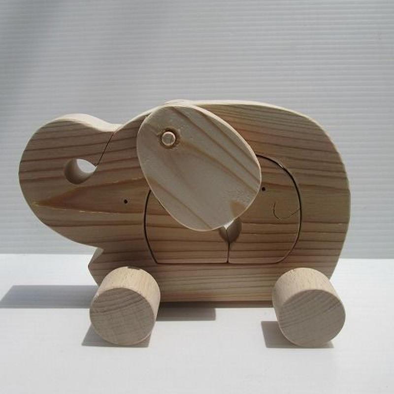 ゾウの車組み木