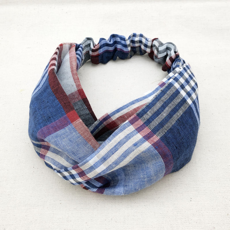 CROSS TURBAN /  Linen Madras Check 2
