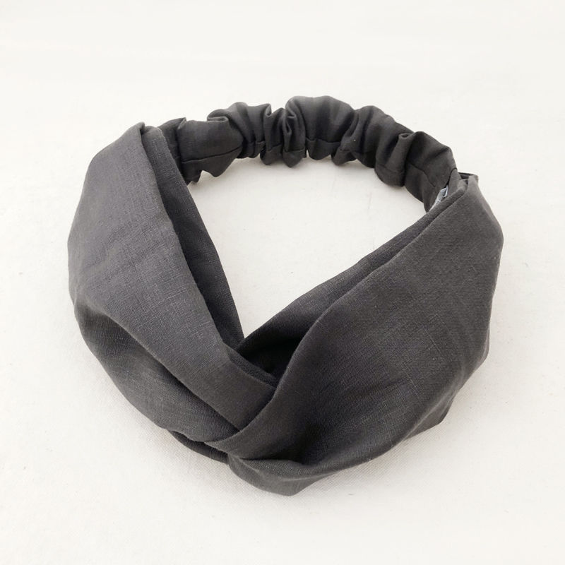 CROSS TURBAN /  Linen Charcoal Grey