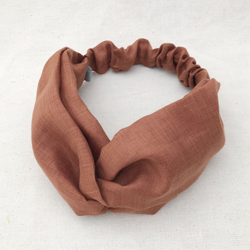 CROSS TURBAN /  Linen Terracotta Brown
