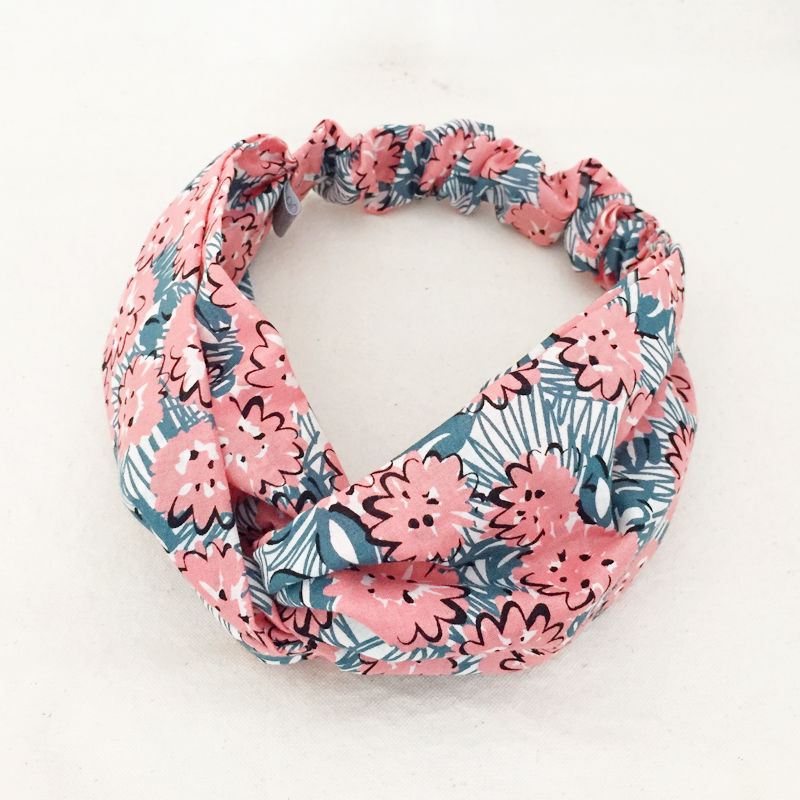 CROSS TURBAN /  Coral Pink Flower
