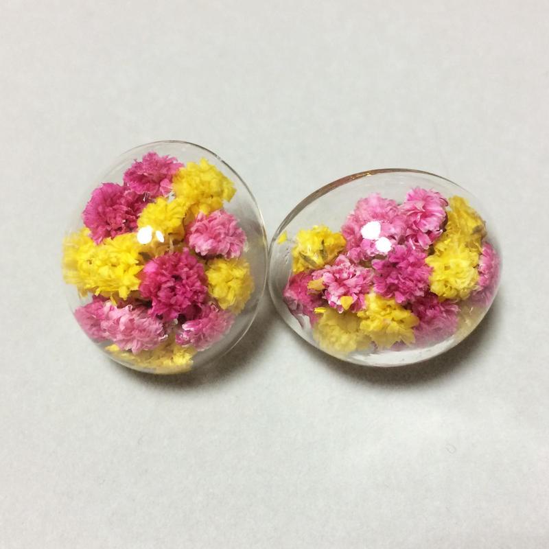 お花×ガラスドームオーバル inピンク&イエロー