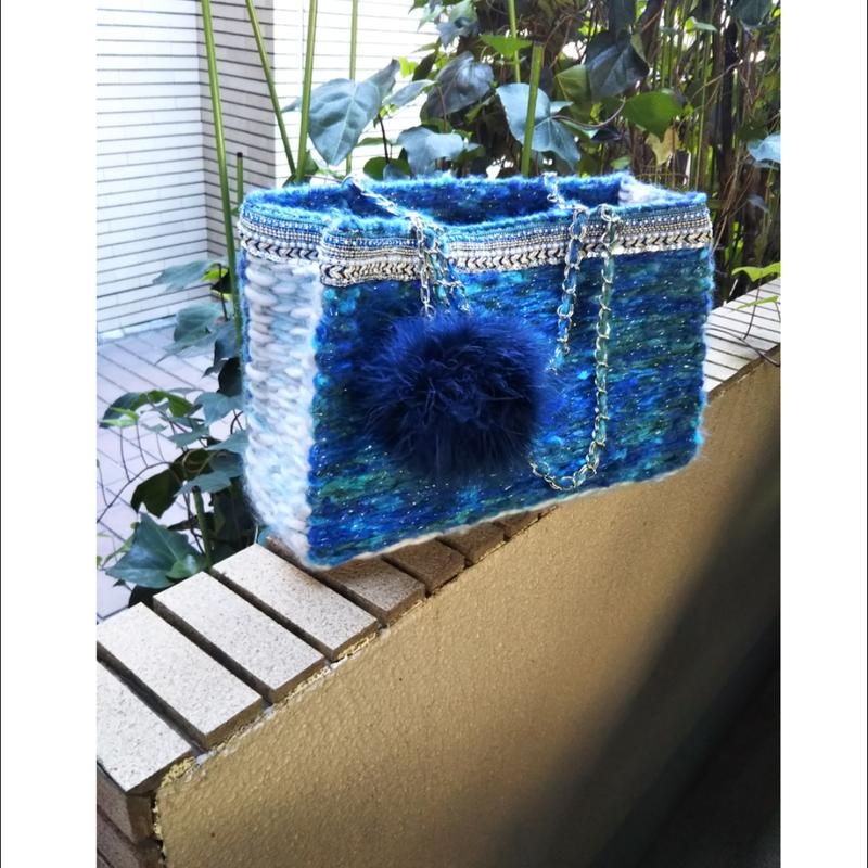 ブルー系トートバッグ